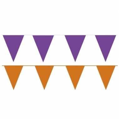 Oranje/paarse feest punt vlaggetjes pakket 200 meter- feestje!