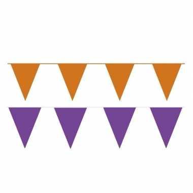 Oranje/paarse feest punt vlaggetjes pakket 60 meter- feestje!