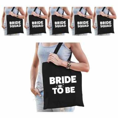 Pakket vrijgezellenfeest dames tasjes/ goodiebag: 1x bride to be zwart+ 5x bride squad zwart- feestje!