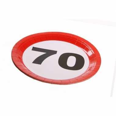 Papieren bordjes 70 jaar feest- feestje!