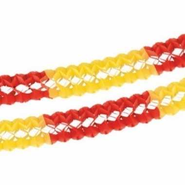 Papieren feest slingers rood/geel 4 meter- feestje!