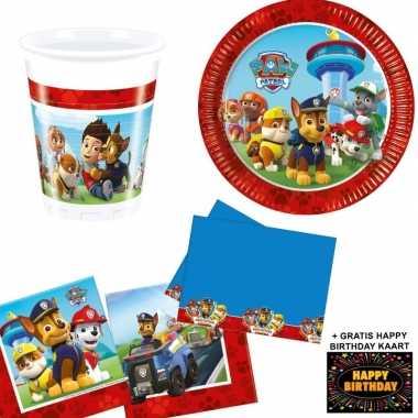 Paw patrol kinderfeestje versiering tafel pakket 8 pers + kaart- fees