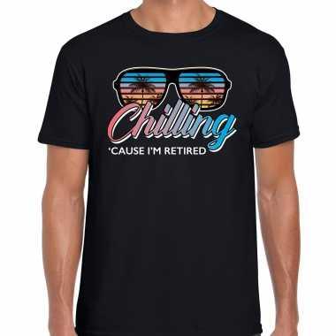 Pensioen feest t-shirt / shirt chilling cause im retired zwart herenfeestje!