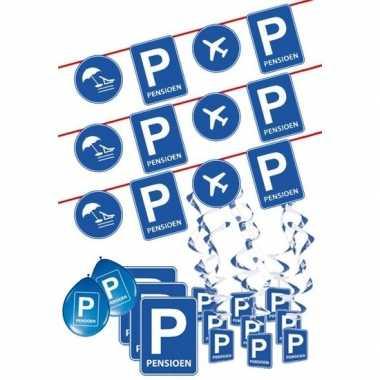 Pensioen/met de vut themafeest pakket l blauw/verkeersbord- feestje!