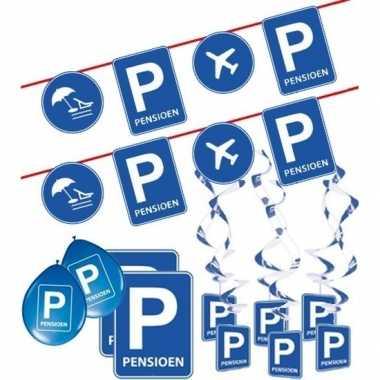 Pensioen/met de vut themafeest pakket m blauw/verkeersbord- feestje!