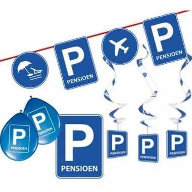 Pensioen/met de vut themafeest pakket s blauw/verkeersbord- feestje!