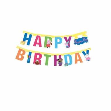 Peppa pig feest wenslijn/letterslinger happy birthday 140 cm - feestj