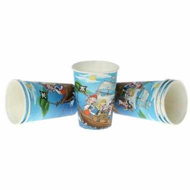 Piratenfeestje blauwe bekers 6 cm- feestje!