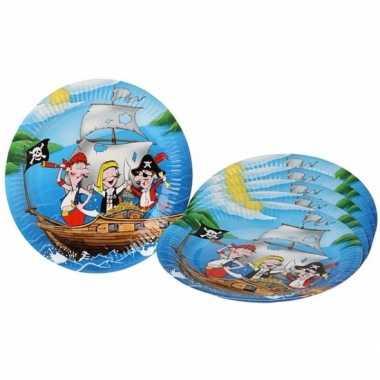 Piratenfeestje blauwe borden 23 cm- feestje!