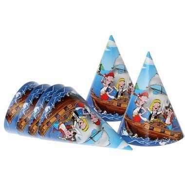 Piratenfeestje blauwe hoedjes 16 cm- feestje!