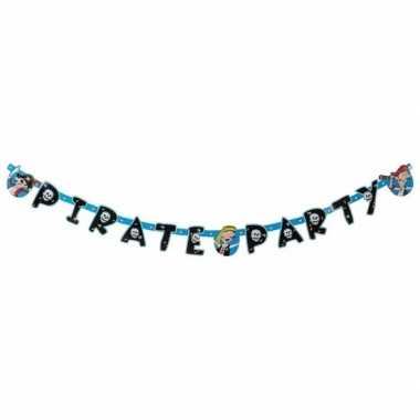 Piratenfeestje blauwe letterslinger- feestje!