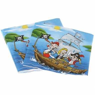 Piratenfeestje blauwe servetten 16 cm- feestje!
