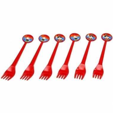 Piratenfeestje rode vorken 16 cm- feestje!