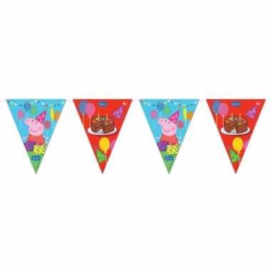 Plastic peppa pig kinderfeest vlaggenlijn- feestje!