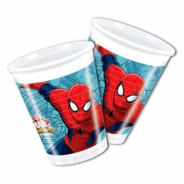 Plastic spiderman feestbekers 8 stuks- feestje!