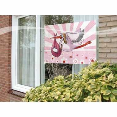 Raamvlag geboorte meisje feestartikelen 60 x 90 cm- feestje!