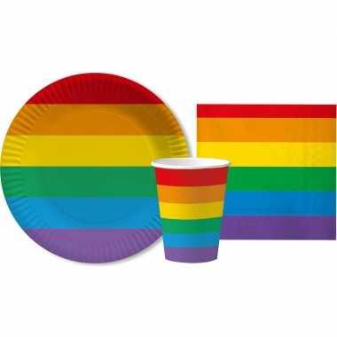 Regenboog thema kinderfeestje servies pakket 2-10 personenfeestje!