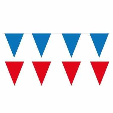 Rode/blauwe feest punt vlaggetjes pakket 120 meter- feestje!