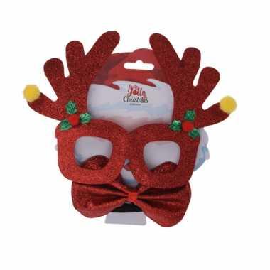 Rode kerst feestbril met vlinderstrikje 17 cm kerstaccessoires- feestje!