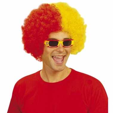 Rood geel feestpruiken afro feestje
