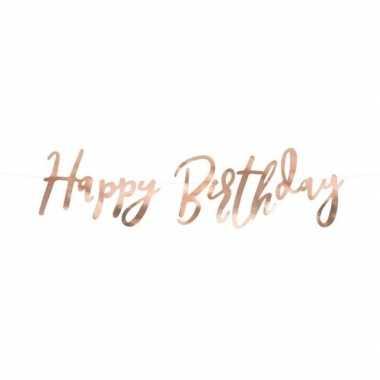Rose gouden feest slinger happy birthday 62 cm- feestje!