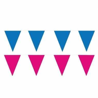 Roze/blauwe feest punt vlaggetjes pakket 120 meter- feestje!