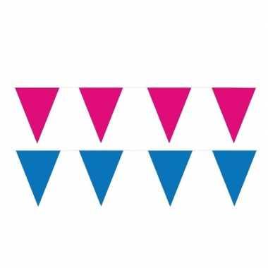 Roze/blauwe feest punt vlaggetjes pakket 60 meter- feestje!
