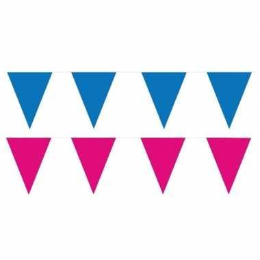 Roze/blauwe feest punt vlaggetjes pakket 80 meter- feestje!