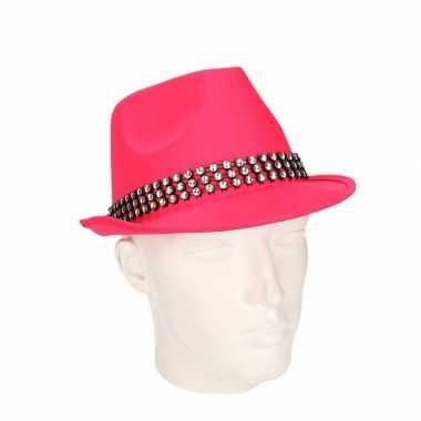 Roze feest hoeden met zilveren steentjes- feestje!