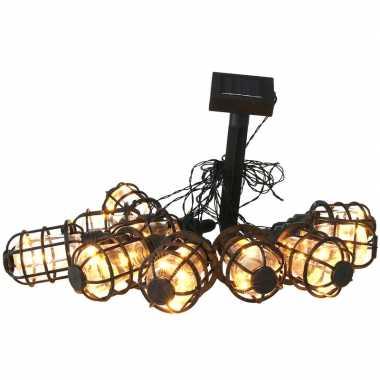 Solar feestverlichting/tuinverlichting met 10 warm witte lantaarns 300 cm- feestje!