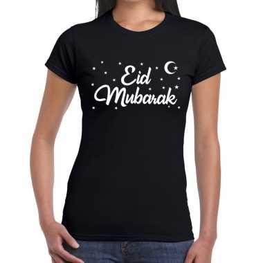 Suikerfeest eid mubarakt-shirt zwart damesfeestje!
