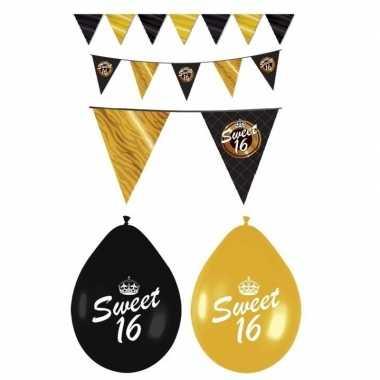 Sweet 16 feestversiering pakket zwart en goud- feestje!