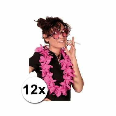 Themafeest hawaii kransen roze 12 stuks feestje