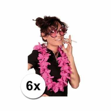 Themafeest hawaii kransen roze 6 stuks- feestje!