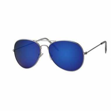 Toppers - piloten zonnebril/feestbril met blauwe glazen voor volwasse