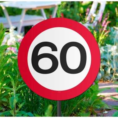 Tuindecoratie tuinbord 60 jaar thema feestartikelen- feestje!