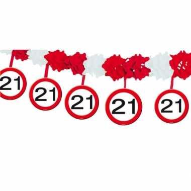 Verkeersborden verjaardag feest slingers 21 jaar van 4 meter- feestje!
