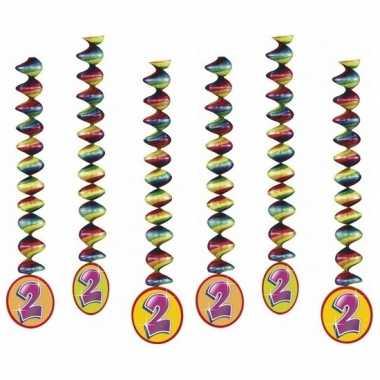Versiering 2 jaar feest spiralen 6x- feestje!