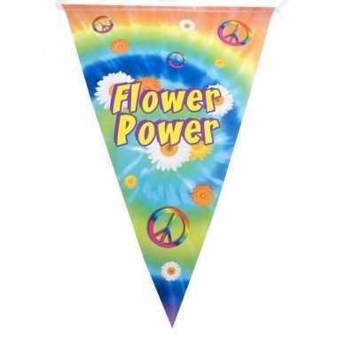 Vlaggenlijn flower power hippie feest decoratie 5 meter- feestje!