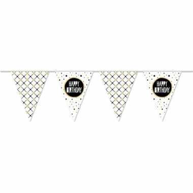 Vlaggenlijn happy birthday metallic feest slinger 10 meter- feestje!