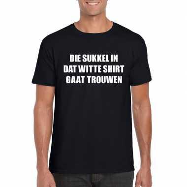 Vrijgezellenfeest die sukkel gaat trouwen shirt zwart heren- feestje!
