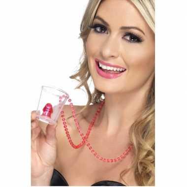 Vrijgezellenfeest shotglas met een ketting- feestje!