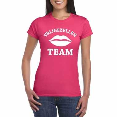 Vrijgezellenfeest team t-shirt roze damesfeestje!
