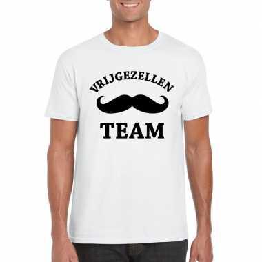 Vrijgezellenfeest team t-shirt wit herenfeestje!