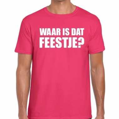 Waar is dat feestje heren t-shirt rozefeestje!