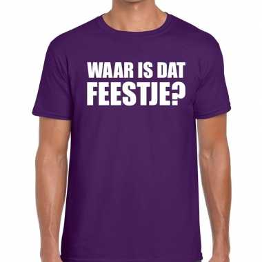 Waar is dat feestje? tekst t-shirt paars herenfeestje!