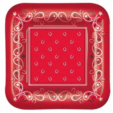 Western themafeest rode bordjes 8 stuks feestje