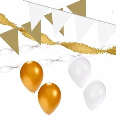 Wit/gouden feest versiering pakket huiskamer- feestje!