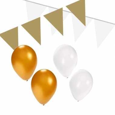 Wit/gouden feest versiering pakket small- feestje!