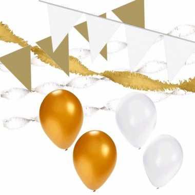 Wit/gouden feest versiering pakket xl- feestje!